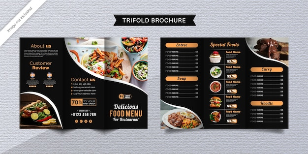 Modèle de brochure à trois volets alimentaire. brochure de menu de restauration rapide pour restaurant de couleur noire.