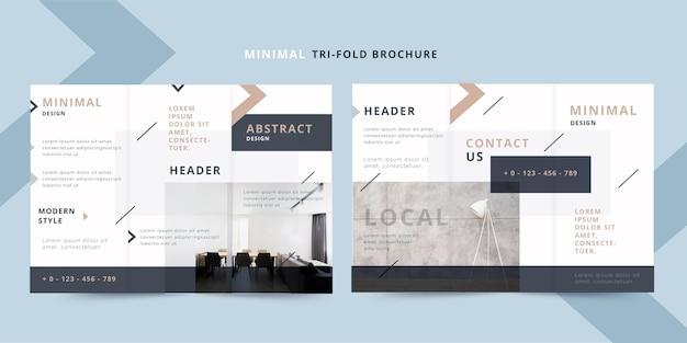 Modèle de brochure à trois volets avant et arrière minimal avec photo