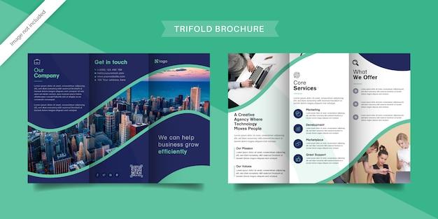 Modèle de brochure à trois volets bleu