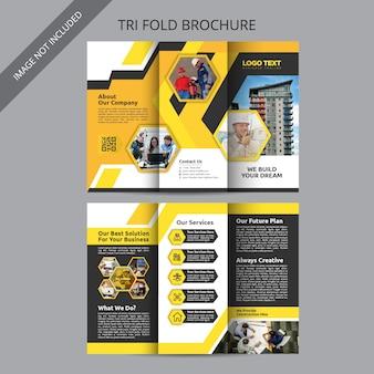 Modèle de brochure à trois volets de construction