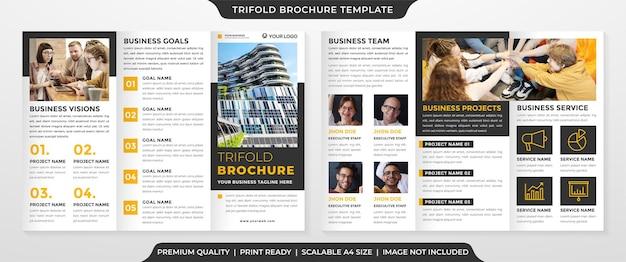 Modèle de brochure à trois volets minimaliste avec un style propre