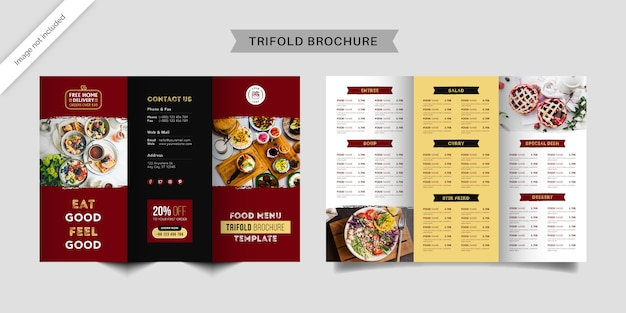 Modèle de brochure à trois volets pour le menu alimentaire