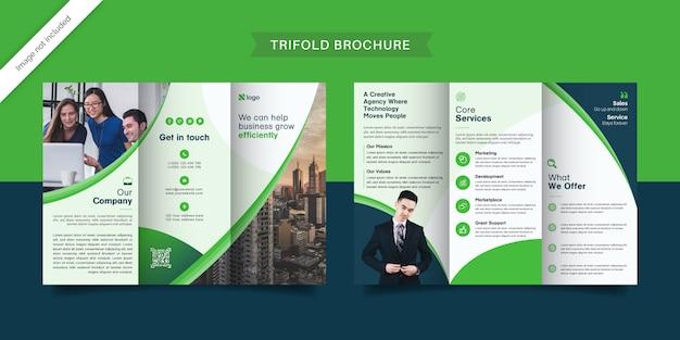 Modèle de brochure à trois volets vert