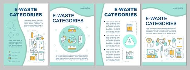 Modèle de brochure sur les types de déchets électroniques. appareils électroménagers usagés. flyer, livret, impression de dépliant, conception de la couverture avec des icônes linéaires.