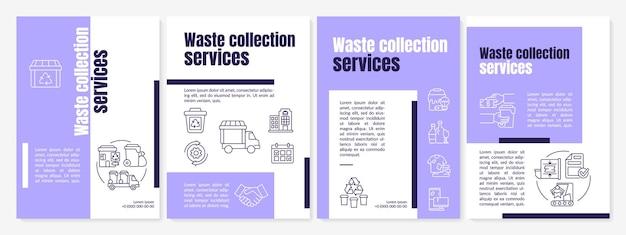Modèle de brochure violet de services de collecte des déchets. flyer, brochure, dépliant imprimé, conception de la couverture avec des icônes linéaires. dispositions vectorielles pour la présentation, les rapports annuels, les pages de publicité