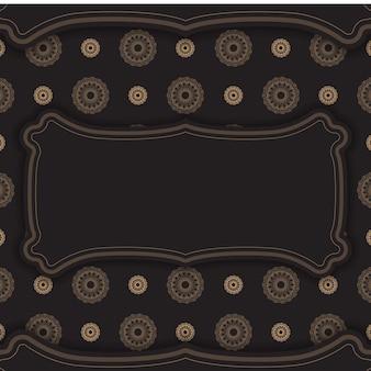 Modèle de brochure de voeux en noir avec motif de luxe marron