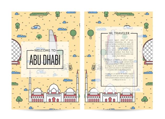 Modèle de brochure de voyage d'abu dhabi dans un style linéaire