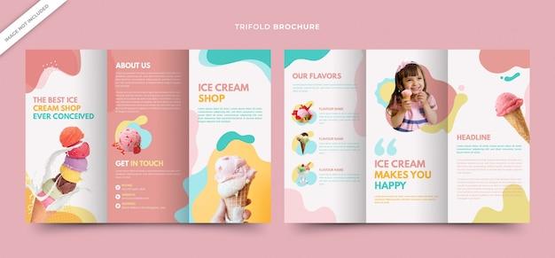 Modèle de brochures de smoothie à trois volets pour ice cream shop