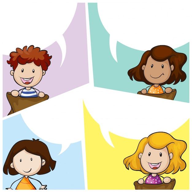 Modèle de bulle de discours avec de nombreux enfants