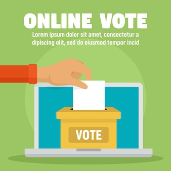 Modèle de bulletin de vote en ligne, style plat
