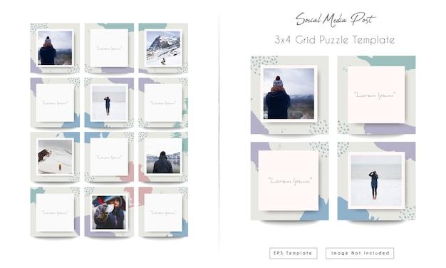 Modèle de bundle d'alimentation instagram de médias sociaux dans un puzzle de grille