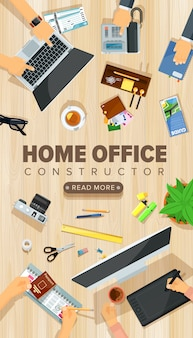 Modèle de bureau de bureau à domicile