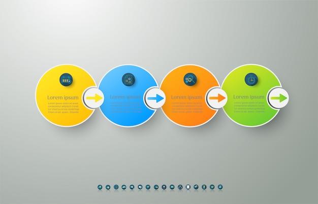 Modèle de business design 4 options ou étapes élément graphique infographique.