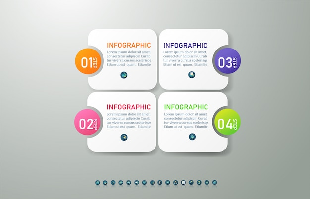 Modèle de business design 4 options ou étapes élément graphique infographique.