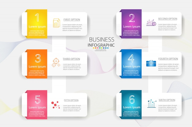 Modèle de business design 6 options ou étapes élément graphique infographique.
