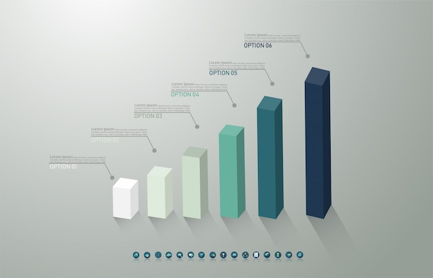 Modèle de business design 6 options ou étapes élément graphique infographique.