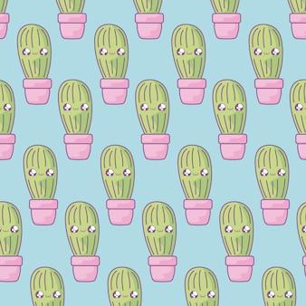 Modèle de cactus tropicales dans un style kawaii de plante en pot
