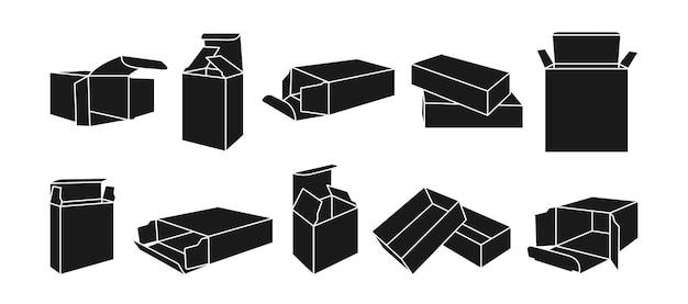 Modèle de cadeau boîte de glyphe noir ensemble de boîtes d'emballage de produit collection de silhouette emballage de forme de papier ouvert