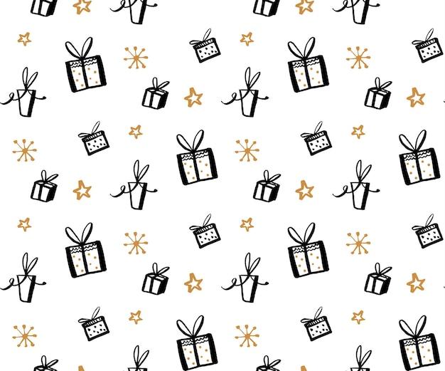 Modèle de cadeau, texture transparente avec des illustrations dessinées à la main de boîtes présentes. fond de cadeaux de vecteur.