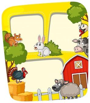 Modèle de cadre avec des animaux de la ferme