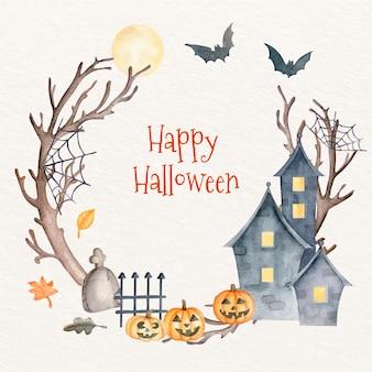 Modèle de cadre aquarelle halloween