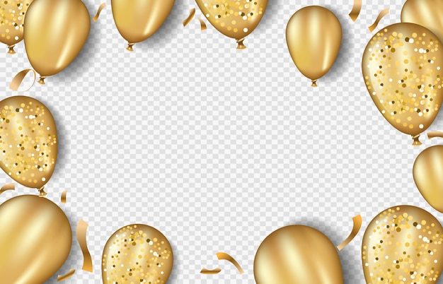 Modèle de cadre de ballons d'or scintillants