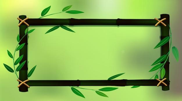 Modèle de cadre avec bambou vert