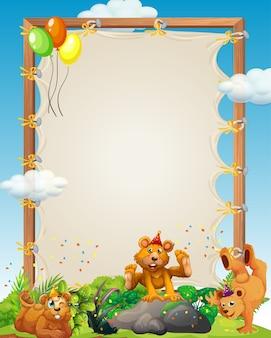 Modèle de cadre en bois de toile avec des beas dans le thème de la fête dans la forêt