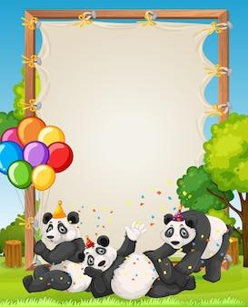 Modèle de cadre en bois de toile avec des pandas dans le thème de la fête sur fond de forêt