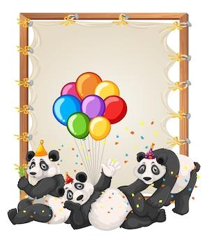 Modèle de cadre en bois de toile avec des pandas dans le thème de la fête isolé