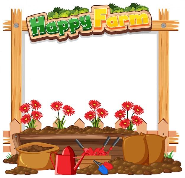 Modèle de cadre de bordure avec fond de thème de jardinage