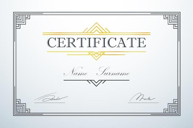 Modèle de cadre de carte de certification luxe vintage