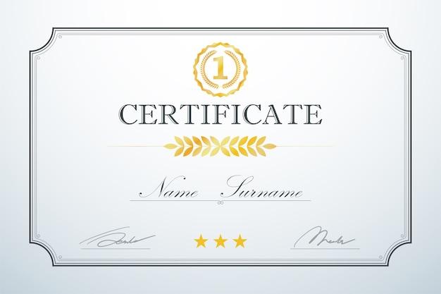 Modèle de cadre de carte de certification vintage luxe rétro