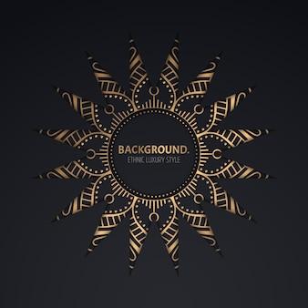 Modèle de cadre de cercle ornemental doré.