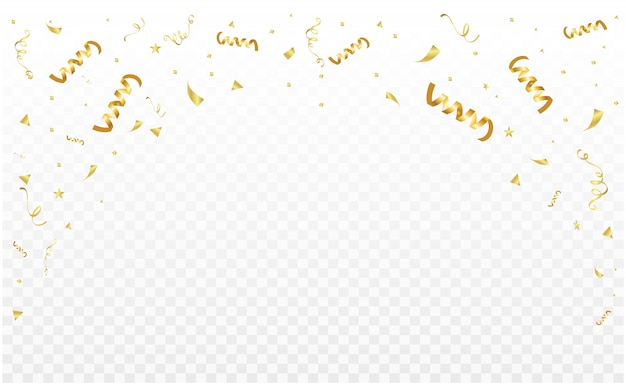 Modèle de cadre de décoration de fête de célébration avec des confettis et des rubans d'or. carte riche de voeux de luxe.