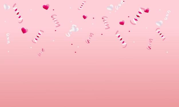 Modèle de cadre de décoration fête fête fond avec des confettis sur fond rose saint valentin.