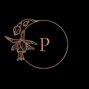 Modèle de cadre doré concept de fleur et monogramme fuchsia avec la lettre p dans un style linéaire minimal. logo floral vectoriel avec espace de copie pour le texte. emblème pour les cosmétiques, mariage, mode, beauté