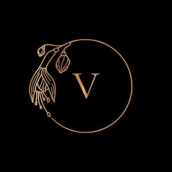 Modèle de cadre doré concept de fleur et monogramme fuchsia avec la lettre v dans un style linéaire minimal. logo floral vectoriel avec espace de copie pour le texte. emblème pour les cosmétiques, mariage, mode, beauté