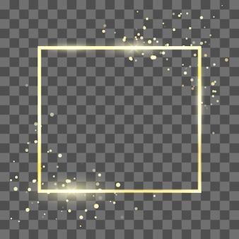 Modèle de cadre doré avec effet scintillant pour bannière et affiche. bordure de forme carrée en or. isolé sur fond transparent