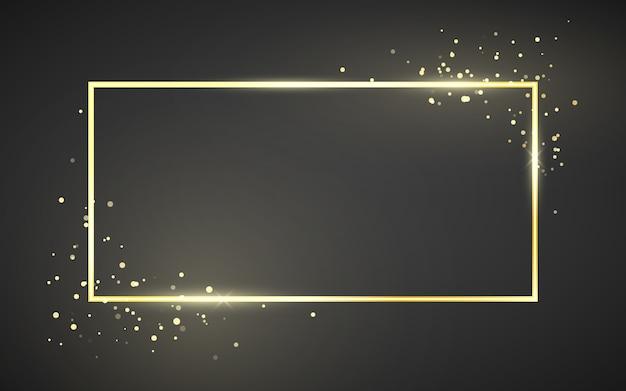 Modèle de cadre doré avec effet scintillant pour bannière, affiche ou carte postale. cadre doré avec espace pour le texte. isolé sur fond sombre
