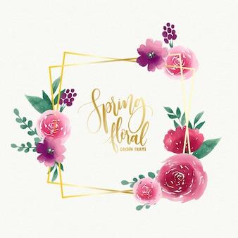 Modèle de cadre doré floral aquarelle printemps