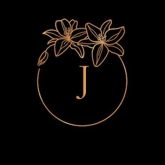 Modèle de cadre doré lily flower et concept de monogramme avec la lettre j dans un style linéaire minimal. logo floral vectoriel avec espace de copie pour le texte. emblème pour les cosmétiques, la mode, la beauté
