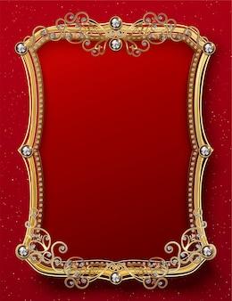 Modèle de cadre doré somptueux avec diamants sur rouge