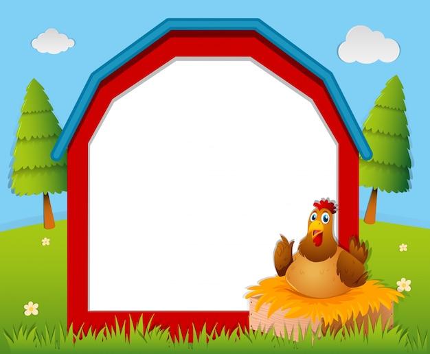Modèle de cadre avec du poulet dans le nid