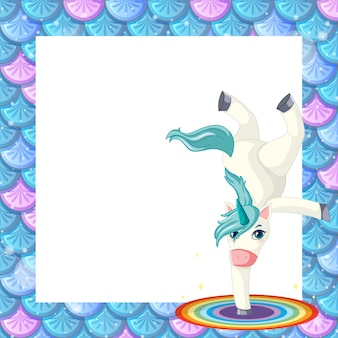 Modèle de cadre d'écailles de poisson bleu blanc avec un personnage de dessin animé mignon de licorne