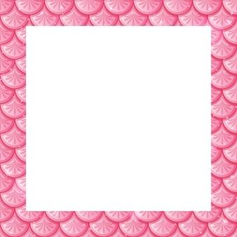 Modèle de cadre d'écailles de poisson rose pastel blanc