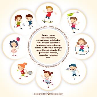 Modèle de cadre avec des enfants jouant