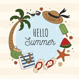 Modèle de cadre d'été bonjour vacances