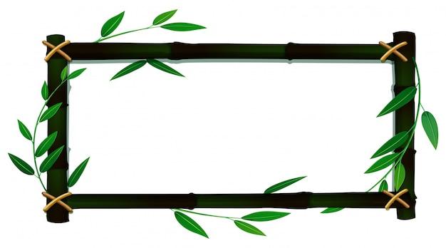 Modèle de cadre avec des feuilles de bambou