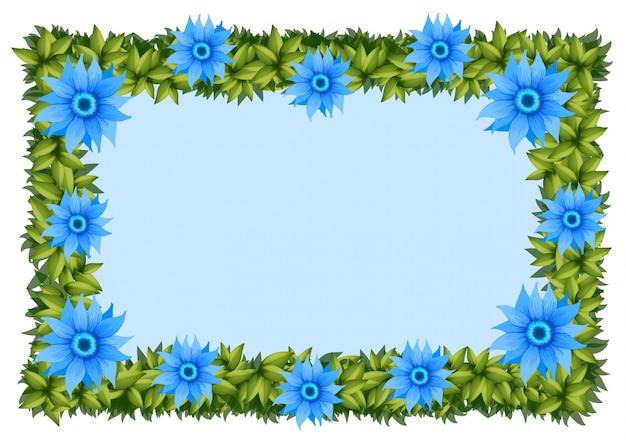 Modèle de cadre avec des fleurs bleues